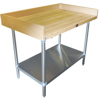 Advance Tabco BS-304 Wood Top Baker's Table with Stainles...