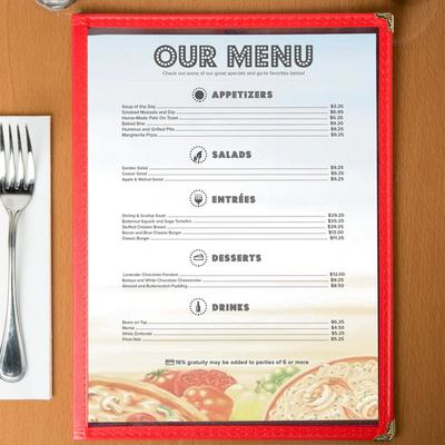 "8 1/2"" x 11"" Menu Paper - Italian Themed Pasta Design Rig..."