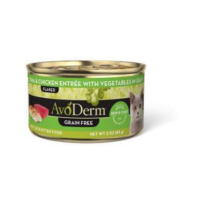 AvoDerm Natural Grain-Free Tuna & Chicken Entree with Vegetables Canned Cat Food, 3-oz, case of 24