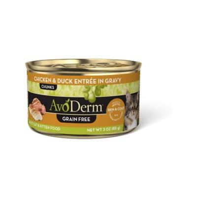 AvoDerm Natural Grain-Free Chicken & Duck Entree in Gravy Canned Cat Food, 3-oz, case of 24