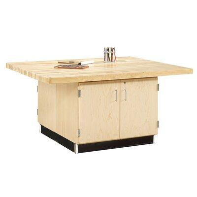 Shain Four Station Wooden Workbench with Two Door Cabinet...