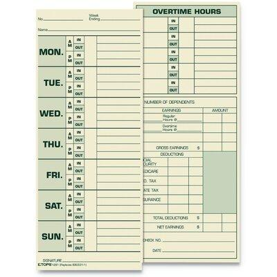 Tops BUSINESS FORMS Time Card for Pyramid Model 331-10 TO...