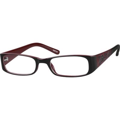 Zenni Two Tone Plastic Full-Rim Prescription Glasses with Incised Pattern on Temples - 839118