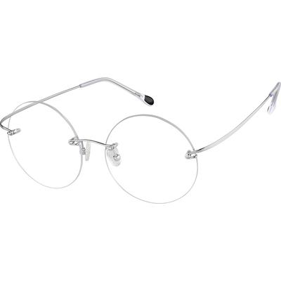 Zenni Womens Lightweight Rimless Prescription Glasses Silver Frame Titanium 372211