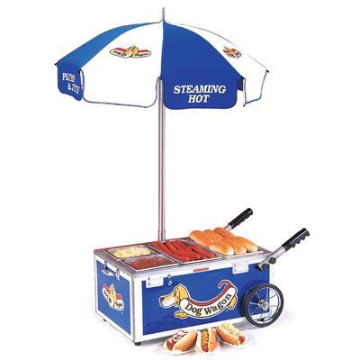 Nemco 6550-DW Blue Mini Hot Dog Cart with (2) 1/6 Pan and...