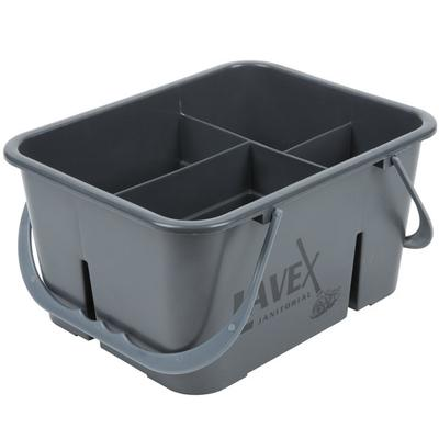 Lavex Janitorial Plastic Cleaning Caddy, 4-Compartment Gr...