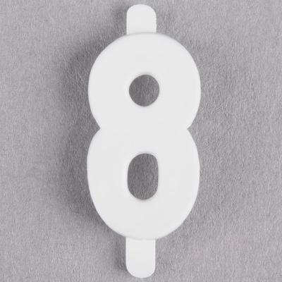"1"" White Molded Plastic Number 8 Deli Tag Insert - 50/Set"