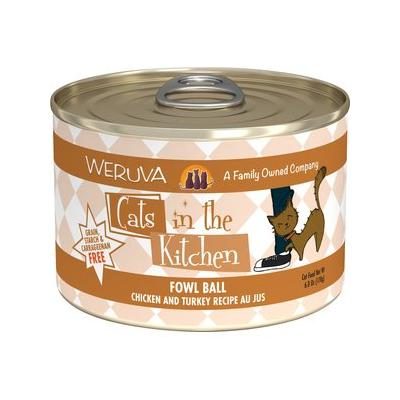 Weruva Cats in the Kitchen Fowl Ball Chicken & Turkey Au Jus Canned Cat Food, 6-oz, 24ct