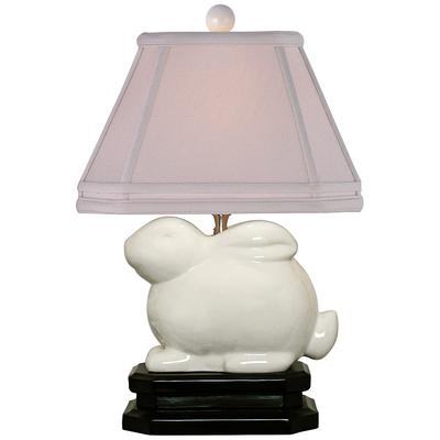 "East Ivory 14 1/2"" high Porcelain Bunny Accent Table Lamp"