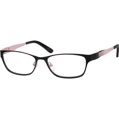 ec9cd0a82f Hypoallergenic stainless steel full-rim frames for women with silicon nose  pads. The temple arms carry special designs and acetate tips.