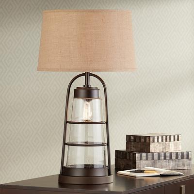 Franklin Industrial Lantern Table Lamp with Night Light