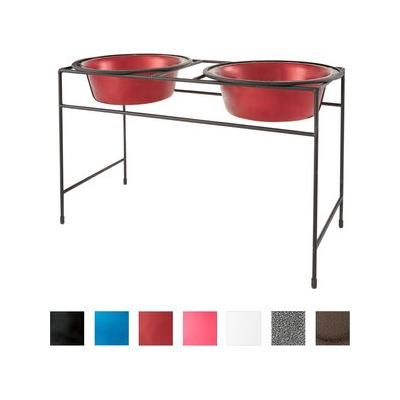 Platinum Pets Candy Apple Red Modern Double Diner Stand with Two Wide Rimmed Bowls, X-Large, 12-cup bowls; The diner stand is designed to fit the all four sizes and secure it in place. The Pet Bowl is easy to remove for feeding and cleaning. It comes...