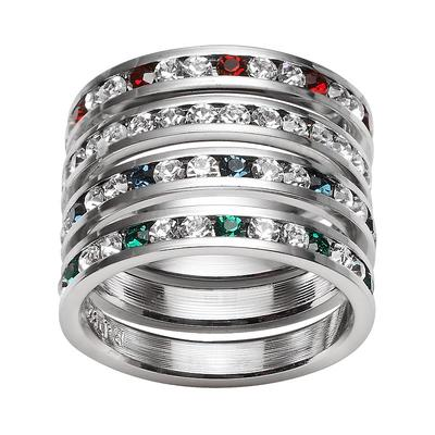 Traditions Sterling Silver Swarovski Crystal Eternity Ring Set, Women's, Size: 6, multicolor
