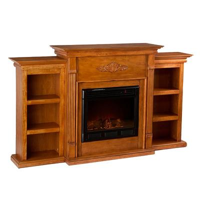 Tennyson Bookcase Electric Fireplace, Brown