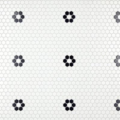 "Somertile EliteTile Retro 10.25"" x 11.75"" Porcelain Mosaic Tile in Matte White/Black FXLM1HMF"