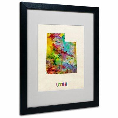 "Trademark Art ""Utah Map"" by Michael Thompsett Framed Grap..."