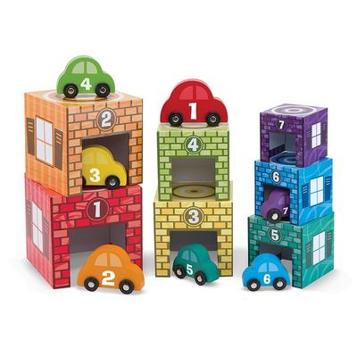 Melissa & Doug Nesting & Sorting Garages & Cars, Multicolor