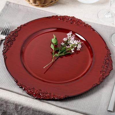 "The Jay Companies 13"" Round Royal Red Acrylic Charger Plate"