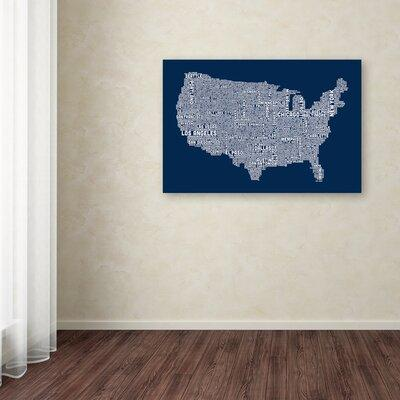 Trademark art us city map v by michael tompsett textual art on canvas art 10999 trademark global michael tompsett us city map v gumiabroncs