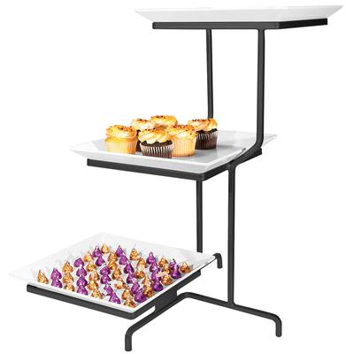 CAL-MIL SR2301-13 Black Three Tier Offset Stand with Squa...