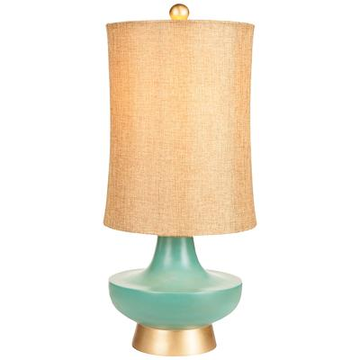 SURYA Meoghan Aged Turquoise and Gold Table Lamp