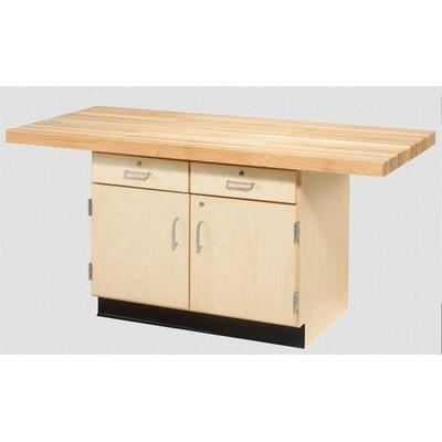 "Diversified Woodcrafts Two Station 64""W Wood Top Workbench WW232-2V"