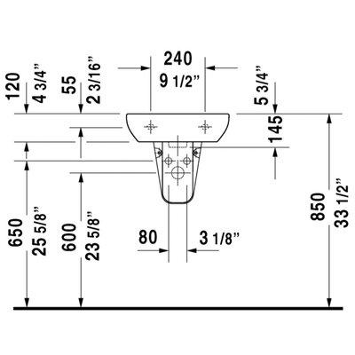 """Duravit D-Code Ceramic 18"""" Wall Mount Bathroom Sink with ..."""
