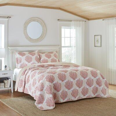 Laura Ashley Home Coral Coast Cotton Reversible Quilt Set...