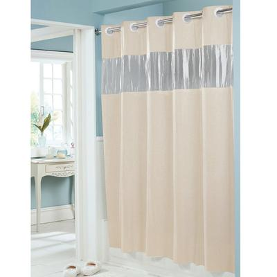Hookless HBH08VIS05 Beige 8 Gauge Vision Shower Curtain W
