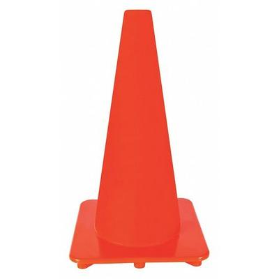 VALUE BRAND 6FGZ1 Traffic Cone, 18In, Fluorescent Red/Orange