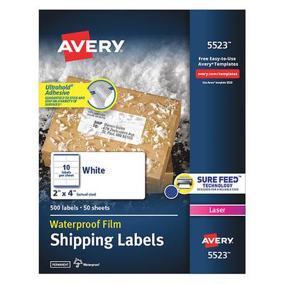 Avery Dennison 2.5-inch x 8.5-inch White WeatherProof Labels 500-Pack (5523)
