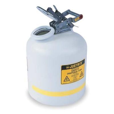 """JustRite MANUFACTURING 12751 Polyethylene Safety Can for Liquid Disposal, Stainless Steel Hardware, Flame Arrester, 2 gal Capacity, 14.75"""" H x 12"""" O.D, White"""