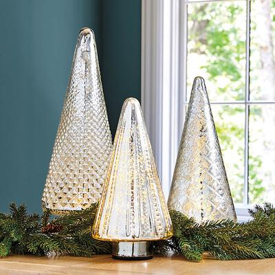 Ballard Designs Lit Mercury Glass Trees Small