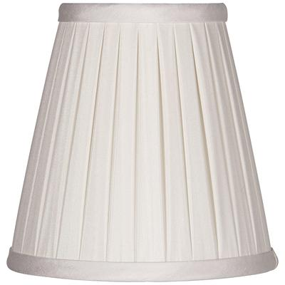 Off-White Box Pleat Chandelier Silk Shade 3x5x5 (Clip-On)