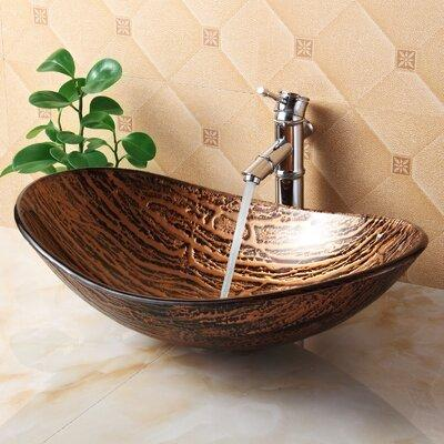 Elite Systems Hot Melted Tree Bark Boat Glass Oval Vessel Bathroom Sink 1212+P01008C Drain Finish: Chrome