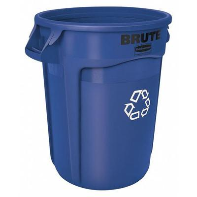 Brute 32 gal. Round Recycling Receptacle, Blue Polyethyle...