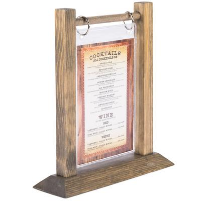"Menu WFT4S-A 4"" x 6"" Antiqued Wood Flip Top Table Tent - ..."