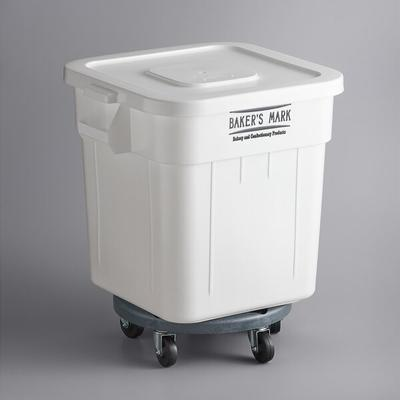 Baker's Mark 32 Gallon White Mobile Ingredient Storage Bi...
