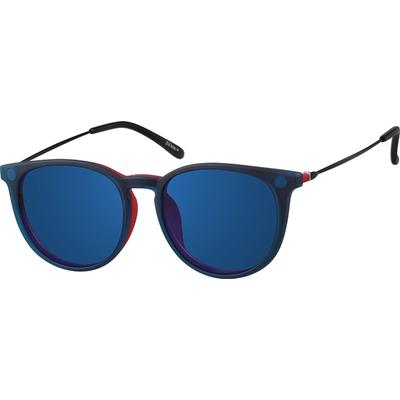 Zenni Round Glasses W/ Snap-On Sunlens Red Frame Mixed Ma...