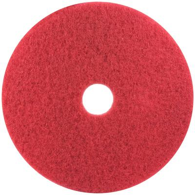 "3M 5100 10"" Red Buffing Floor Pad - 5/Case"