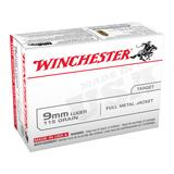 Winchester USA Ammunition 9mm Luger 115 Grain Full Metal Jacket Box of 100