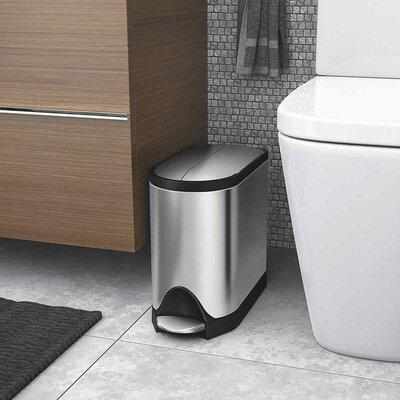 simplehuman Brushed Stainless Steel Fingerprint-Proof Butterfly 10-Liter Step Trash Can 10 Liter