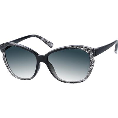Zenni Womens Oversized Cat-Eye Rx Sunglasses Black Frame Tr 1115321