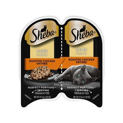 Sheba Perfect Portions Grain-Free Roasted Chicken Cuts in Gravy Entree Cat Food Trays, 2.6-oz, case of 24 twin-packs