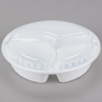 "Choice 33 oz. White 9"" Round 3-Compartment Microwavable H..."