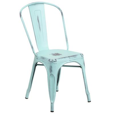 FLASH Furniture ET-3534-DB-GG Distressed Green Blue Stack...