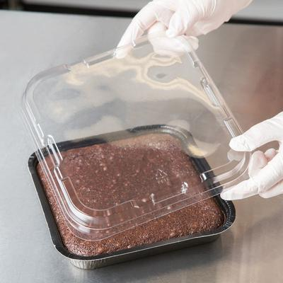 "Solut 47808 8"" Square Clear Plastic Low Dome Pan Lid - 25..."
