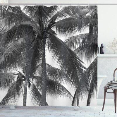 Ambesonne Palm Tree Silhouette Exotic Plant on Thema Foli...