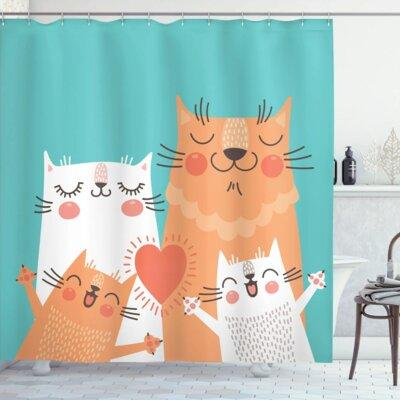 Ambesonne Kids Cute Kitty Couple Happy Shower Curtain Set...