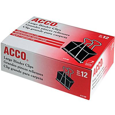 "Acco 72100 1 1/16"" Capacity Black Large Binder Clip - 12/..."